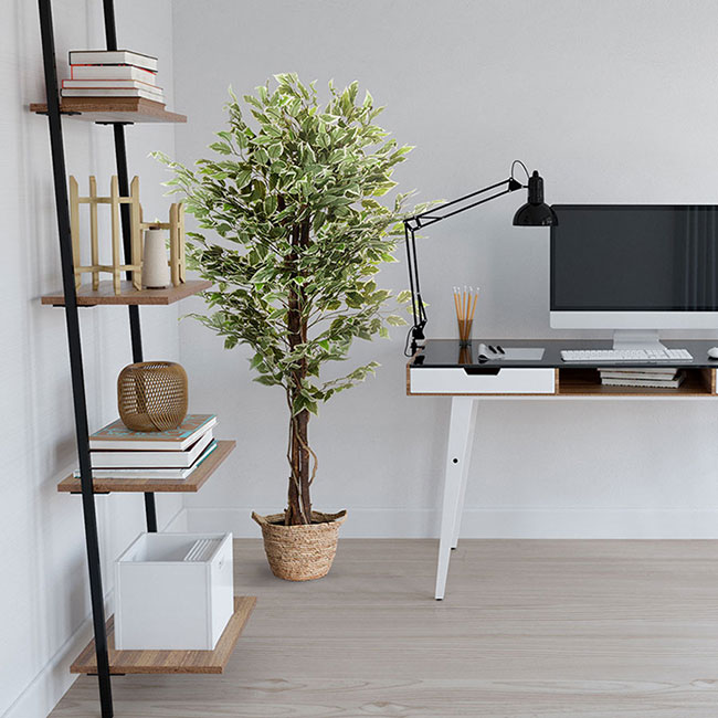 Kunstpflanze als Dekoration im Home Office oder Buero